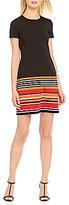 Calvin Klein Round Neck Short Sleeve Striped Ponte Dress