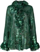 Anna Sui ruffle trimmed metallic floral print shirt