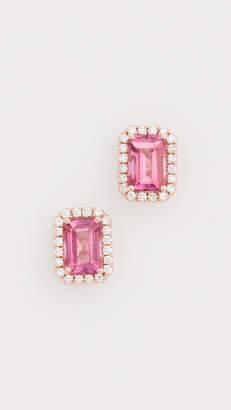 Suzanne Kalan Kalan by 14k Rose Gold Emerald Cut & Pave Diamond Stud Earrings