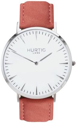 Hurtig Lane Hymnal Vegan Suede Watch Silver,White & Coral