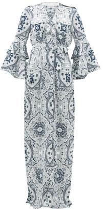 Raquel Diniz Army Mosaic-print Silk-satin Dress - Womens - Blue White