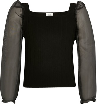 River Island Girls Black organza long sleeve knitted top