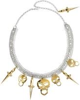 Forzieri Bernard Delettrez Silver Chains with Bronze Skulls and Dagger Necklace