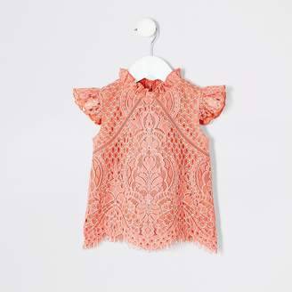 River Island Mini girls coral lace top