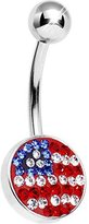 Body Candy Patriotic Brilliance American Flag Belly Ring
