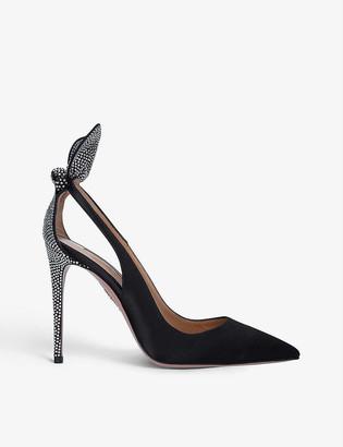 Aquazzura Bow Tie 85 crystal-embellished suede heeled pumps