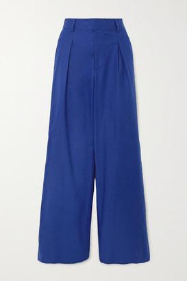 STAUD Bruco Pleated Linen-blend Wide-leg Pants - Navy
