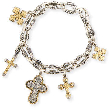 Konstantino Sterling Silver & 18K Gold Cross Charm Bracelet