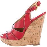Chloé Leather Slingback Wedge Sandals