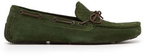 Bottega Veneta Wave Intrecciato Suede Loafers - Mens - Green
