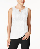 Charter Club Cotton Crochet-Bib Top, Created for Macy's