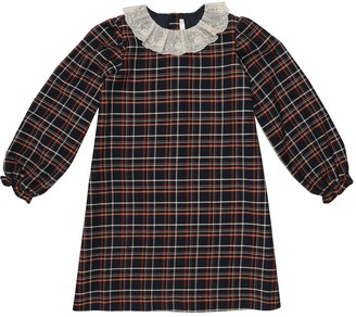 Bonpoint Puzzle checked cotton-blend dress