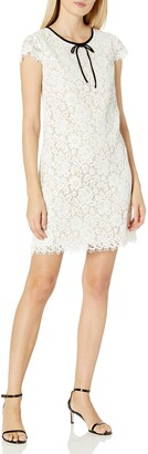 ABS by Allen Schwartz Women's Lace Shift Dress with Contrast Bow at Neck