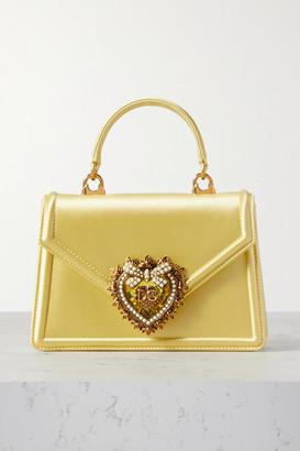 Dolce & Gabbana Devotion Mini Embellished Satin Tote - Yellow
