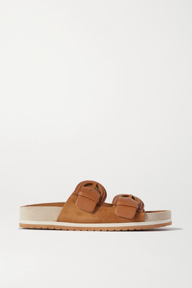 Vince Glyn Leather And Suede Slides - Tan