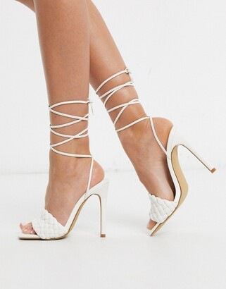 Public Desire Melissa square toe quilted heeled sandal with ankle tie in white