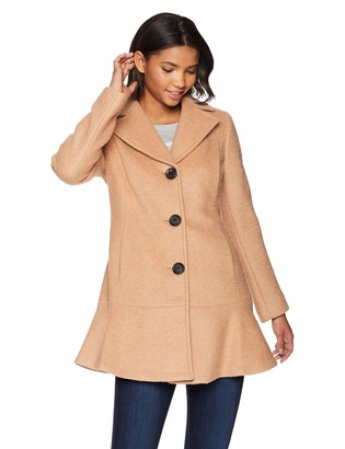 Kensie Women's Casual Thigh Length Button Closure Wool Coat
