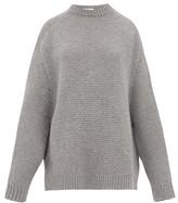 Raey Crew-neck Basketweave Wool Sweater - Womens - Grey Marl
