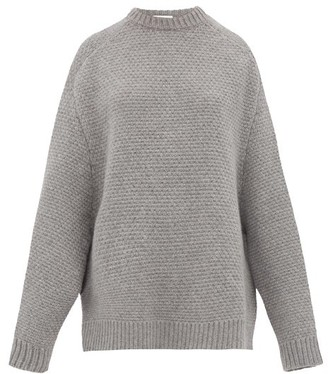 Raey Crew-neck Basketweave Wool Sweater - Womens - Grey Marl