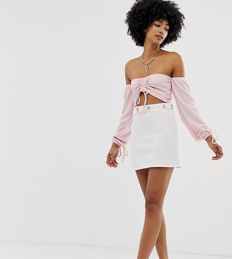 Another Reason pinstripe mini skirt with chain waist detail-White