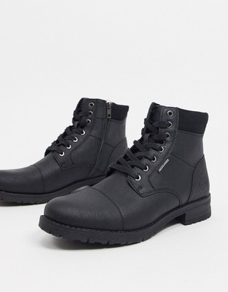 Jack and Jones lace up faux leather boot in black