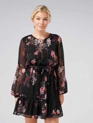 Forever New Lana Petite Lace Up Mini Dress - Black Floral Print - 16