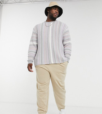 ASOS DESIGN Plus knitted textured sweater in pastel stripes