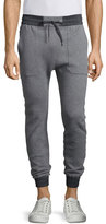 Helmut Lang Drawstring Combo Track Pants, Heather Gray