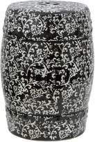 Oriental Furniture Porcelain Garden Stool, 18-Inch, Black/White Floral