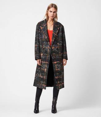 AllSaints Lottie Wool Blend Camo Coat