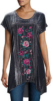Johnny Was Tilda Short-Sleeve Velvet Embroidered Tunic