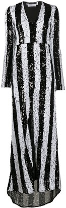 Rotate by Birger Christensen Sequin-Embellished Striped Maxi Dress