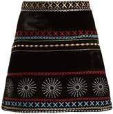 DODO BAR OR Liya embroidered velvet mini skirt