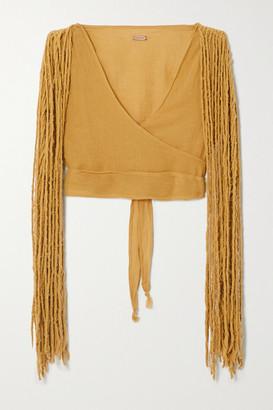 CARAVANA + Net Sustain Yaxa Fringed Cotton-gauze Top - Mustard
