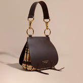 Burberry The Bridle Bag in Leather and Haymarket Check, Brown