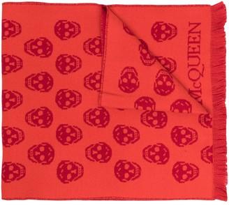Alexander McQueen Intarsia-Knit Skull Scarf