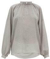 Raey Gathered Balloon-sleeve Floral-print Silk Top - Womens - Grey Print