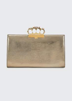 Alexander McQueen Metal Wire Four-Ring Metallic Clutch Bag
