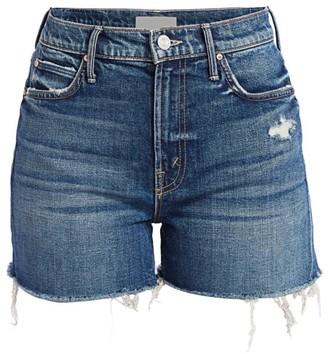 Mother The Dutchie High-Rise Fray Destructed Denim Shorts