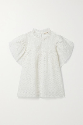 Ulla Johnson Mae Gathered Broderie Anglaise Cotton Top - White