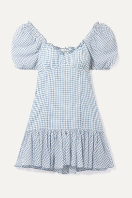 LoveShackFancy Catalina Off-the-shoulder Checked Cotton-voile Mini Dress - Blue