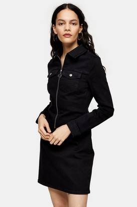 Topshop Black Stretch Denim Zip Through Shirt Dress