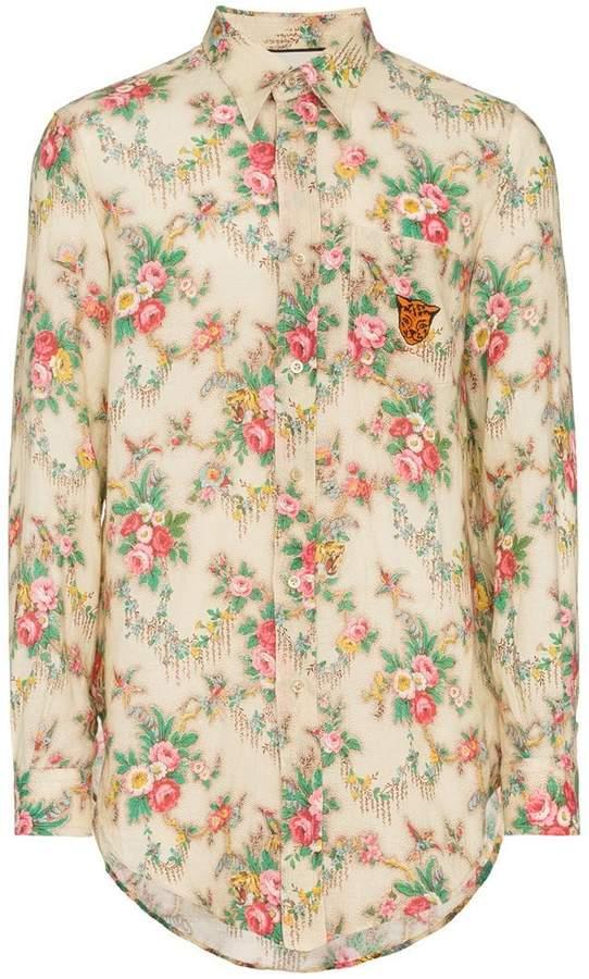 Gucci floral print long sleeve shirt