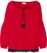 Tory Burch Sylvie Fringe And Guipure Lace-trimmed Silk Blouse - Red