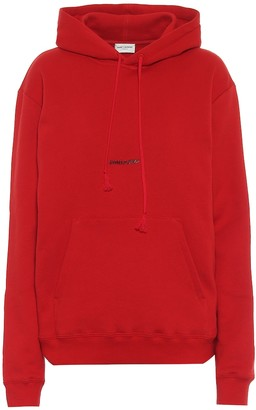 Saint Laurent Logo cotton jersey hoodie