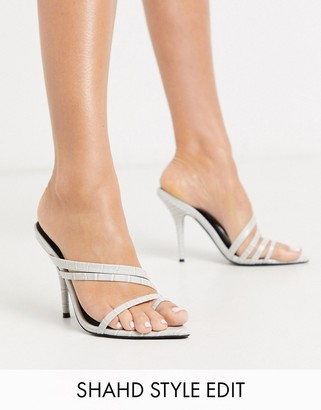 Asos Design DESIGN Nirvana pointed insole toe loop heeled sandals in gray croc