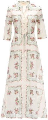 Tory Burch Floral Printed Cotton Voile Maxi Dress