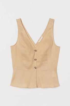 H&M V-neck Linen Blouse - Beige