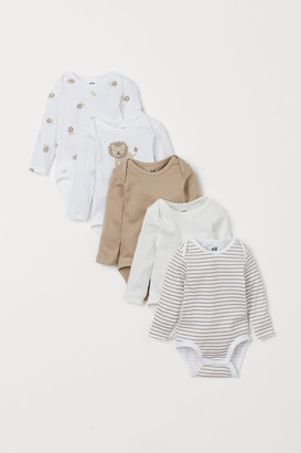 H&M 5-pack Long-sleeved Bodysuits - Brown