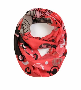 Scarfand's Vibrant Colored Artistic Painting & Graphic Print Infinity Fashion Scarf - Red - One Size